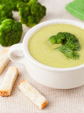 Broccoli soup dieting food with croutons on Royalty Free Stock Images