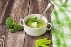 Broccoli soup with mint and ricotta cheese. Broccoli soup puree with mint and ricotta cheese on the dark wooden background Royalty Free Stock Photo