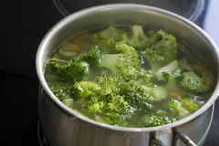 Broccoli soup in the pot.  Stock Photo