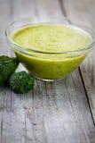 Broccoli soup. Vegetarian food. Broccoli soup with garnish Royalty Free Stock Photo
