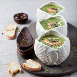 Broccoli, Spinach Cream Soup, Shrimp, Wooden Board Royalty Free Stock Image