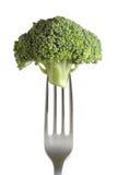 Broccoli sur une fourchette Photographie stock libre de droits