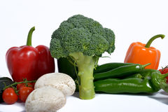 Broccoli surround different seasonal vegetables Royalty Free Stock Image