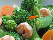 Broccoli, Sweet Peas & Prawns Stock Photos