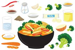 Broccoli Tofu Chinese Food Vector Illustration. For many purpose such as cooking book, cooking blog or websiite, home or cafe and restaurant decoration, print stock illustration