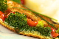 Broccoli and Tomato Omelette Stock Images