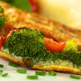 Broccoli and Tomato Omelette Stock Photography