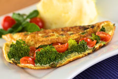 Broccoli and Tomato Omelette Royalty Free Stock Photo