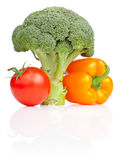 Broccoli, tomato and Yellow Bell Pepper isolated Stock Image