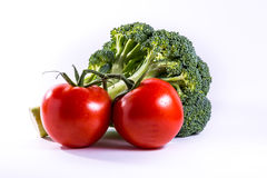 Broccoli Tomatoes Red Green Vegetables Fresh Food Group Isolated Royalty Free Stock Photography