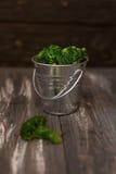 Broccoli in un secchio del metallo Immagini Stock Libere da Diritti