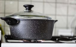 Broccoli vegetable boiling in the pot royalty free stock photography