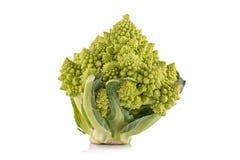 Broccoli verdi di Romanesco su fondo bianco Immagine Stock Libera da Diritti
