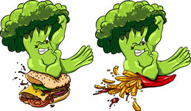 Broccoli vs burger and French fries, healthy food fast , competition. Royalty Free Stock Photos