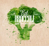 Broccoli watercolor poster. Poster with green watercolor broccoli lettering Eat broccoli be strong Royalty Free Stock Photo