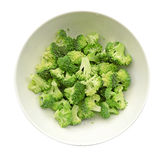 Broccoli in white ceramic bowl isolate on white (clipping path) Royalty Free Stock Photo