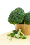 Broccoli in a Wooden Bowl Stock Image