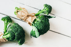 Broccoli on a wooden table. Broccoli on a wooden   board Royalty Free Stock Images