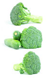 Broccoli and zucchini - on white background Royalty Free Stock Photography