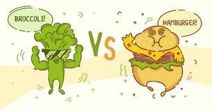 Broccolimens versus Hamburgerkerel De leuke personen van het kawaiibeeldverhaal Vlak lijnontwerp Gezond veganistvoedsel en ongezo royalty-vrije illustratie