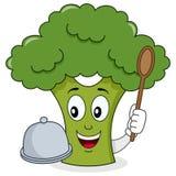Broccolitecken med magasinet och skeden Royaltyfri Fotografi
