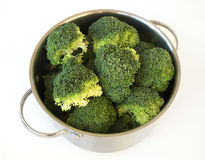 Broccolli in a Stainless steel pot Royalty Free Stock Photo