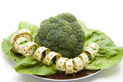Broccolo con nastro adesivo di misurazione Immagine Stock
