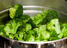 Broccolo cotto a vapore Fotografia Stock Libera da Diritti