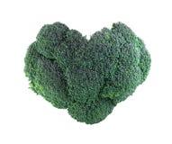Broccolo a forma di del cuore su bianco Immagini Stock Libere da Diritti