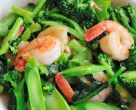 Broccolo mescolare-fritto alimento sano tailandese Fotografia Stock