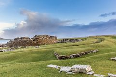Broch of Gurness. Ancient settlement on Orkney`s mainland Stock Photos