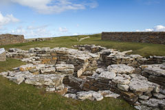 Broch of Gurness. Remains of an Iron age settlement on Orkney, Scotland Royalty Free Stock Photo