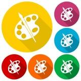 Brocha con los iconos de la paleta fijados Fotografía de archivo libre de regalías