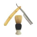 Brocha de afeitar vieja y maquinilla de afeitar recta Fotografía de archivo libre de regalías