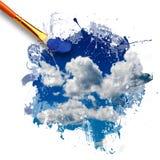Brocha que pinta el cielo hermoso foto de archivo libre de regalías