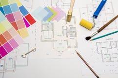 Brocha y accesorios, herramientas del trabajo para la reparación Imágenes de archivo libres de regalías