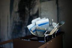 Brochas con el fondo borroso del estudio Imagen de archivo libre de regalías