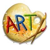 Brochas e insignia del arte de la gama de colores Fotos de archivo libres de regalías