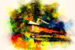 Brochas a la paleta de la pintura y al fondo suavemente borroso de la acuarela Fotografía de archivo libre de regalías