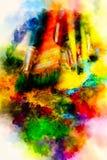 Brochas a la paleta de la pintura y al fondo suavemente borroso de la acuarela Fotos de archivo