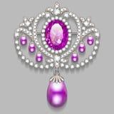 broche com pérolas e as pedras preciosas V filigrana Foto de Stock Royalty Free