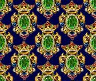 Broche Crown Seamless Pattern Dark Backgrounds Gemstones. Emerald Ruby royalty free illustration