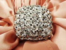 Broche de bijoux avec le fond de satin et de soie Photos libres de droits