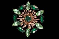 Broche de la vendimia del rhinestone del verde esmeralda Foto de archivo