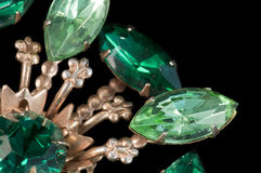 Broche de la vendimia del verde esmeralda Foto de archivo libre de regalías