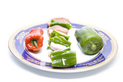 Broche de viande avec des légumes Images libres de droits