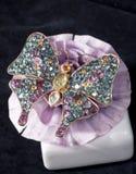 Broche del diamante en dimensión de una variable de la mariposa Imágenes de archivo libres de regalías
