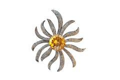 Broche del oro con onyx y diamantes Fotografía de archivo libre de regalías
