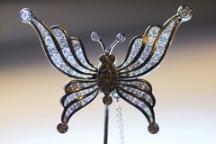 Broche del perno de Diamond Butterfly Stick Foto de archivo libre de regalías