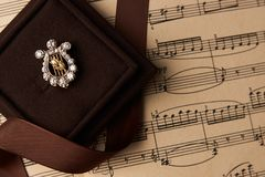 Broche do diamante na forma da harpa Foto de Stock Royalty Free